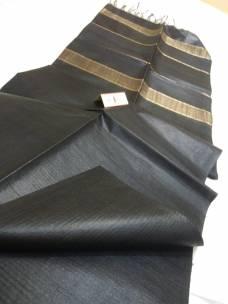 Black pure Tussar gicha stripes sarees