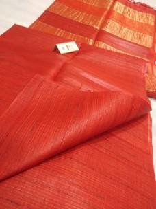 Red pure Tussar gicha stripes sarees