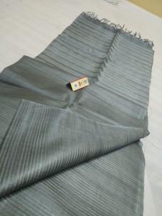 Grey pure Tussar gicha stripes sarees