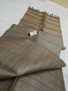 Light brown pure Tussar gicha stripes sarees