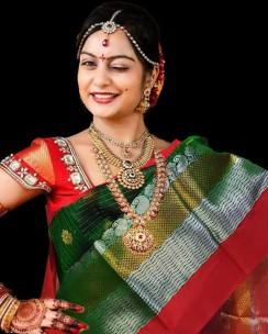 Dark green kuppadam silk sarees
