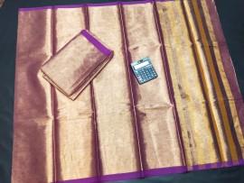 Purple uppada tissue cotton sarees