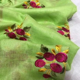 Green linen embroidered sarees