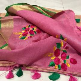 Pink linen embroidered sarees