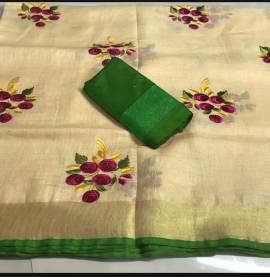 Sandal with green linen embroidered sarees