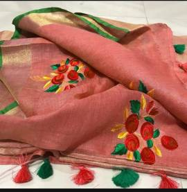 Pink peach with green linen embroidered sarees