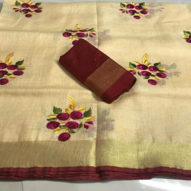 Sandal with maroon red linen embroidered sarees