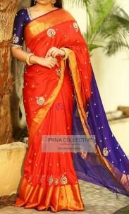 Orange uppada pattu big border sarees with maggam work