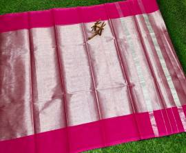 Uppada tissue cotton Sarees with pink border
