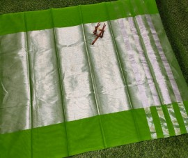 Uppada tissue cotton sarees with green border