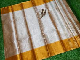 Uppada tissue cotton saree with gold border
