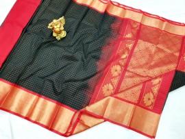 Black kuppadam small mothi checks sarees