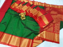 Dark green kuppadam small mothi checks saree