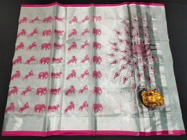 Uppada silver tissue cotton sarees with animals print