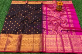Dark chocolate brown and pink kuppadam pattu sarees