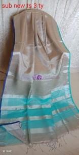 Dark beige linen tissue sarees