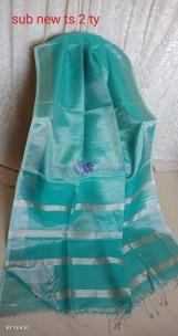 Turquoise blue linen tissue sarees