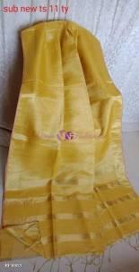 Golden yellow linen tissue sarees