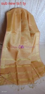 Golden peach linen tissue sarees