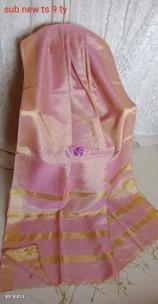 Peach pink tissue linen sarees