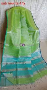 Green with turquoise blue linen tissue sarees