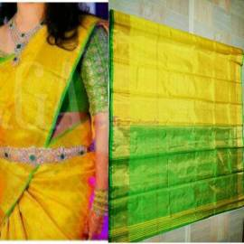 Yellow color uppada tissue sarees