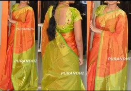 Orange and green uppada tissue sarees