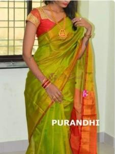 Green and orange uppada tissue sarees