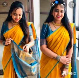 Yellow and blue uppada tissue sarees