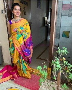 Yellow and Pink uppada tissue print sarees