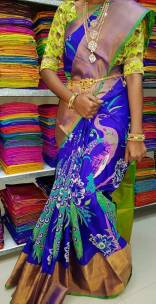 Dark blue and green uppada tissue print sarees