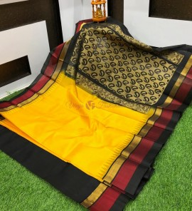 Yellow and black kuppadam pattu sarees with temple border