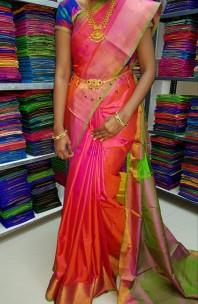 Dark pink with green uppada plain soft silk sarees