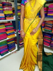 Yellow with dark green Uppada plain sarees