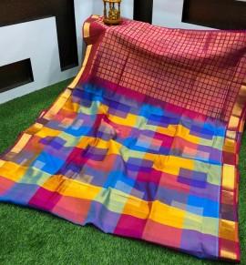 Light blue with multicolor checks kuppadam sarees