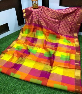 Orange with multi color checks kuppadam sarees