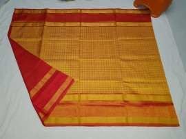 Yellow and red uppada Mahanathi checks sarees