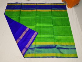Green and blue uppada Mahanathi checks sarees