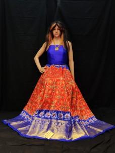 Orange with Royal Blue ikkat lehenga with kanchi border