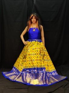 Dark yellow and Royal Blue ikkat lehenga with kanchi border