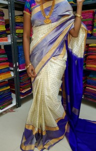White and Royal Blue uppada Mahanathi checks sarees