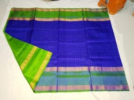 Royal Blue and green uppada Mahanathi checks sarees