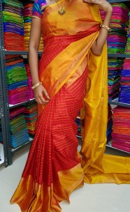 Red and gold uppada Mahanathi checks sarees
