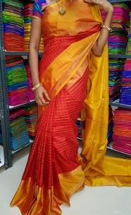 Red and gold uppada Mahanathi checks sarees
