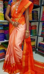 Orange uppada Mahanathi checks sarees
