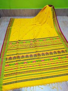 Yellow and red mercerised khadi fully handwoven dolabedi sarees