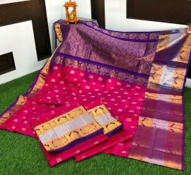 Dark pink and blue kanchi kuppadam pattu sarees