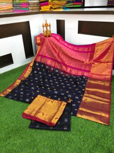 Black and pink kanchi kuppadam pattu sarees