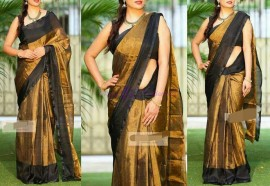 Dark gold with black uppada tissue silk sarees