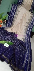 Cream and navy blue handloom pure ikkat cotton sarees